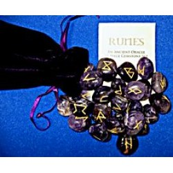 Amethyst Rune Stones with Pouch