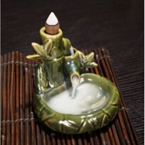 Backflow Incense Burner - Green Bamboo