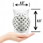 Owl - USB Powered Ultrasonic Ceramic Essential Oil Diffuser w/LED changing lights - Easy 1 Button Function
